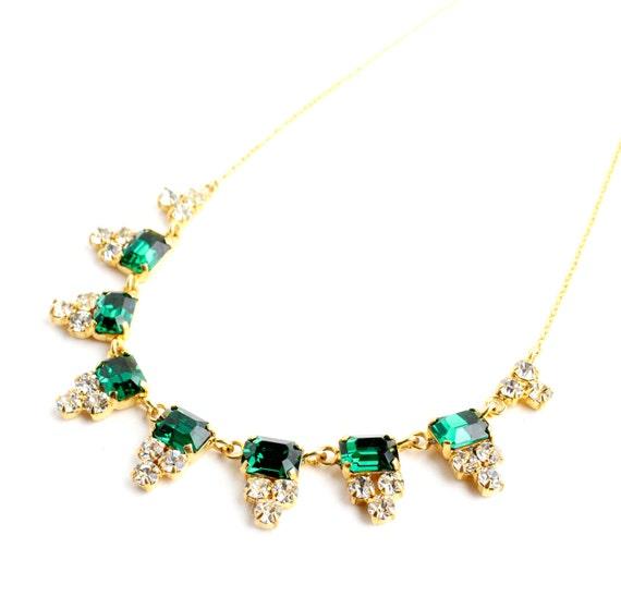 Vintage art deco emerald green rhinestone necklace 1930s for Art deco costume jewelry
