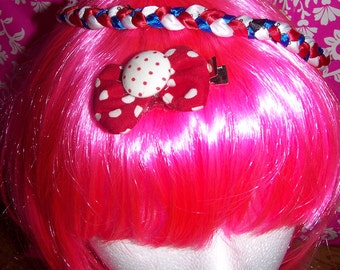 Red White Blue - Headband - Stretch Braided - Polka Dot - Bow - One size fits most
