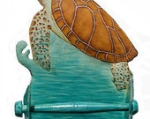 Toilet Paper Holder - Sea Turtle, Bathroom Decor - Nautical Hand Painted Metal Bathroom Decor - Toilet Tissue Holder - K7064-TP
