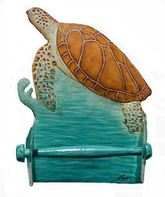 Toilet Paper Holder Sea Turtle Bathroom Decor Nautical Hand Painted Metal Bathroom Decor