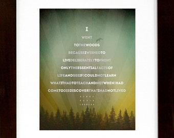 """Henry David Thoreau – I Went To The Woods...[3] Quote in shape of a tree 11""""X14"""" / Hiking / Typographic / Nature / Hiking / Digital Print"""
