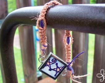 Pink and Purple Stars Memory Glass Open Square Hemp Bracelet