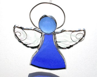 Stained Glass Angel, Blue Angel Suncatcher, Guardian Angel Decor, September Birthstone, Birthstone Angel, Guardian Angel
