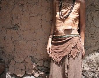 Native Tribal Brown Wrap long Skirt