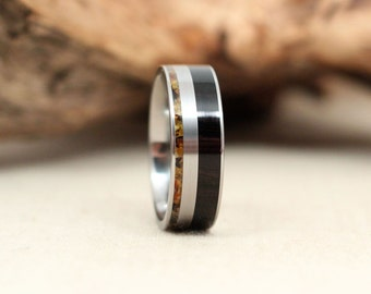 African Blackwood Wooden Ring and Baltic Amber Deconstructed Titanium Ring