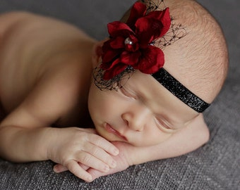 Red flower headband, Red black headband, skinny headband,netting,flower girl,photo prop,glitter headband,Christmas headband,holiday headband