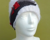 White Warm Wool Hat with Red - Gary Applique - Hand Knited Hat - Recycled - Upcycled