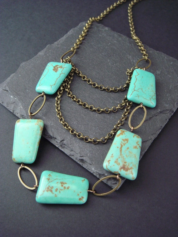 Turquoise Swag Necklace, Natural Stone Jewelry, Layered Vintage Boho Style Accessory