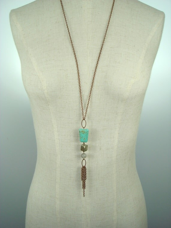 Turquoise, Pyrite, and Labradorite Necklace, Handcrafted Mixed Stone Jewelry, Copper Chain Fringe, Organic Style, Long Length