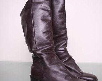 Size 6.5 / 7 - 80s Leather Boots - Vintage Pollini Italian Boots - Brown Leather Boots - Angled Boots