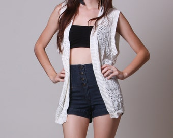 Large / XL - Open Size - 90s Sweater Vest - Vintage Cardigan Tank -  Cream Knit Slouchy Sweater