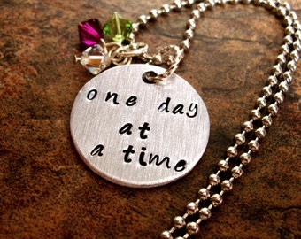 One Day at a Time Hand Stamped Charm Necklace, Heart Necklace, Inspirational Words Jewelry