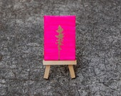 Gold Pine Tree on Neon Pink - Original Mini Canvas Painting