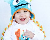 Crochet monster hat newborn halloween costume newborn photography prop toddler monster hat halloween monster hat