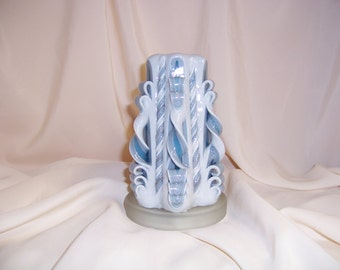 Carved candle-6 inch blue, silver and white