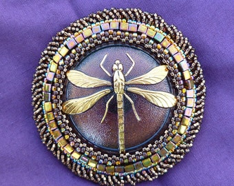 dragonfly beaded brooch pin.