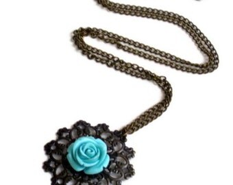 Vintage style synthetic coral resin rose cabochon pendant necklace( red, turquoise, antic brass)