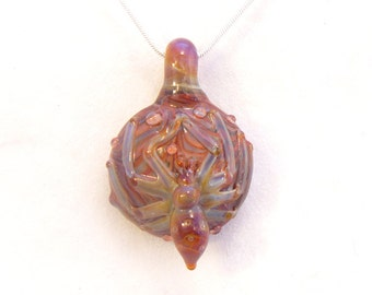 Jubilant Glass SPIDER Pendant Flamecrafted Borosilicate on Sterling Silver    Free Shipping