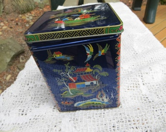 Daher Tin Box Dark Blue Asain Theme with Hinged Lid