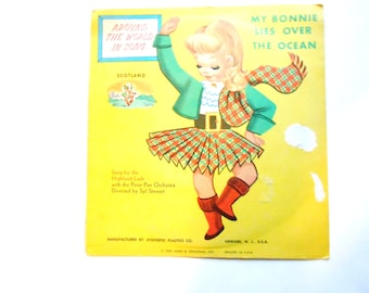 My Bonnie Lies Over the Ocean and The Little Dutch Girl, Vintage Children's Record, 45 RPM, 1962