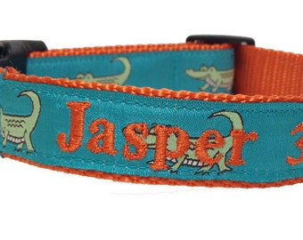 Personalized Dog Collar- embroidered with name and phone- Alligator Dog Collar