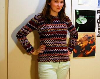 S/M Vintage 70s Brown Zig Zag Shirt