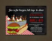 Burgers and Beer Birthday Party Invitation - Printable File, Digital, Reunion, Hamburgers, Beer, Tablecloth, Chalkboard, Adult