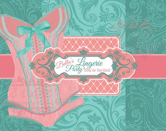 Lingerie Shower, Bachelorette Party Invitations, Corset Invitations, Burlesque Invitations