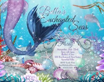 Mermaid Invitations, Mermaid Party, Mermaid Pool Party, Birthday Party Invitations