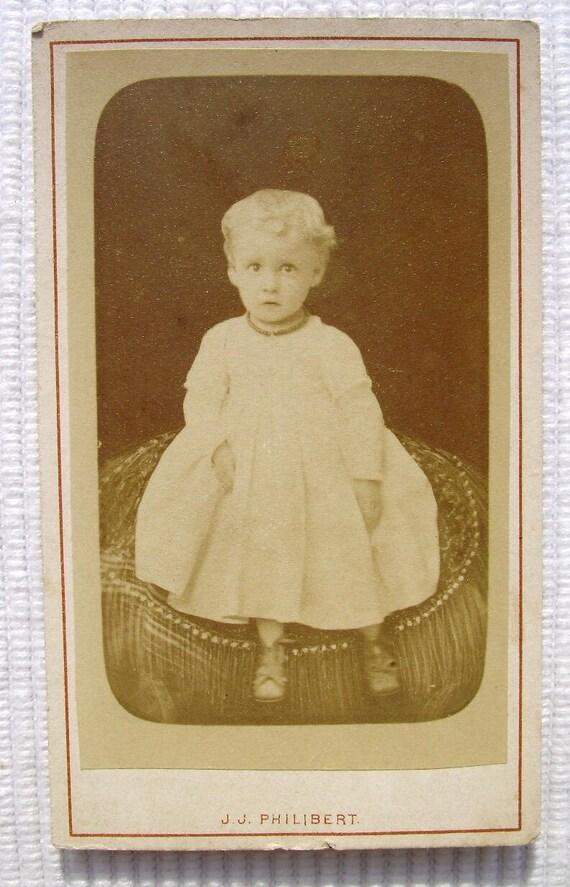 French Antique Photograph / Carte de Visite (CDV) -  Young Child (J.J. Philibert, Paris, France)