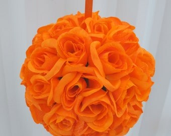Orange pomander kissing ball flower girl wedding decoration wedding flowers bridesmaid bouquets