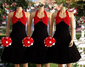 Polka Dot Two Tone Rockabilly Bridesmaid Dress