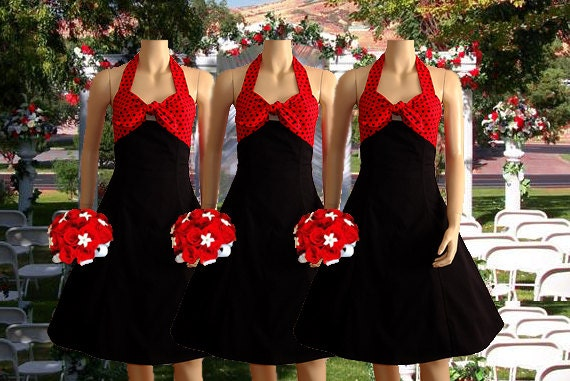 Polka Dot Two Tone Rockabilly Bridesmaid Dress