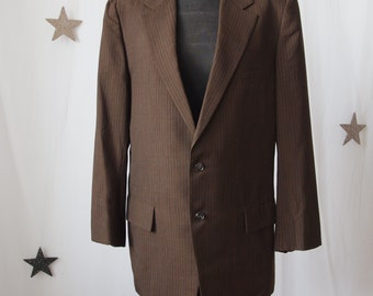 Men's Jacket 60's/70's  Brown Pinstripe 2 Buttons Late 60's Botany Sportcoat 38 Polyester