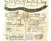 Chocolate Chip Cookie Recipe Illustration 8x10 print - kitchen decor, tea, cookies, recipe, ink illustration, custom recipe