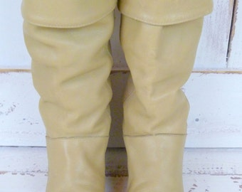 Vintage Frye cuffed tan leather knee high boots