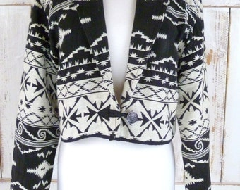 Vintage black and white Southwestern cropped Tribal print  woven blazer