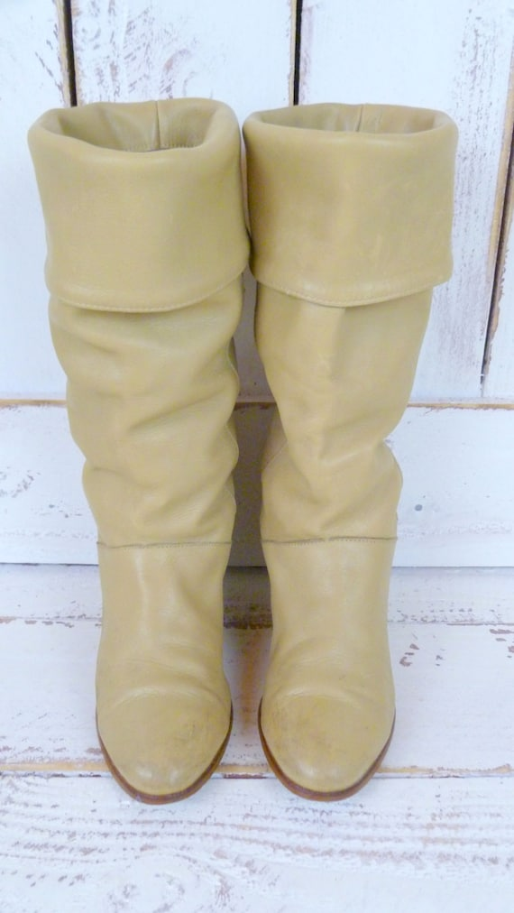 vintage frye cuffed leather knee high boots