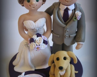 Wedding Cake Topper, Custom Bride and Groom, Personalized Topper with Pet, Polymer Clay Wedding or Anniversary Keepsake
