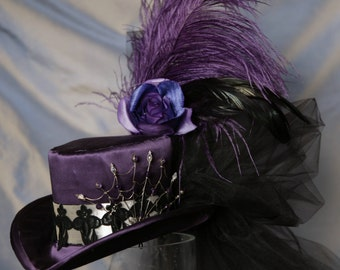 Steampunk Mini Top Hat VictorianTopper in Purple Silk with flowers and Feathers