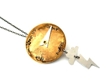 Mood Necklace, Weather Necklace, Mood Indicator Jewellery, Steampunk Necklace, Personalised, Customized