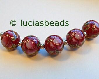 NEW Set of 5 Japanese Tensha Beads Pink Rose on Wine 12 MM