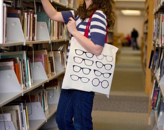 Perfect Vision Glasses Tote Bag  - Red handle