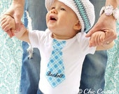 NEW Summer Teal Plaid Necktie Personalized Tie Bodysuit.  Any Tie, Any Size, Any Name or Monogram Embroidered on Our Little Man Bodysuit.
