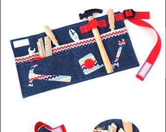 Little Man Tool Belt Sewing Pattern: Use for Toy Tools OR Girls Apron for Craft Supplies, Baking, Gardening - Instant Download