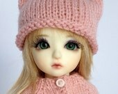 """Kitty Hat for 6/7"""" head MSD YoSD BJD - Hand Knit Made to Order in colour of your choice"""