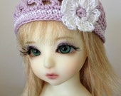 """BJD Beanie Hat with Flower for 6/7"""" head MSD YoSD - Violet / White"""