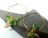 Peridot Green Earrings,August Gift, Thin Gold Hoop Earrings, Delicate Hoops,Gold Hoop Earrings, Green leaf earrings, Green Hoops Earrings,