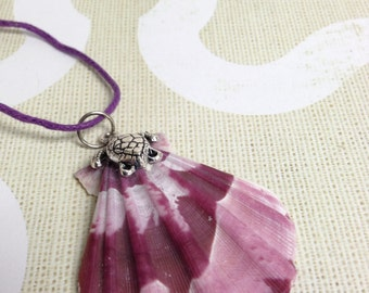 Purple  Lions Paw Scallop Shell Necklace