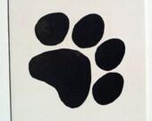 Ceramic Wall Tile - Custom - Dog Paw Print Ceramic Wall Tile - 4.25 inch Ceramic Tile - Made to Order